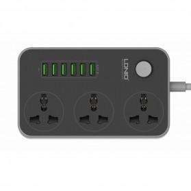 LDNIO Stop Kontak 3 Socket with USB Charger 6 Port 10A - SC3604 - Black