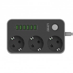 LDNIO Stop Kontak 3 EU Socket with USB Charger 6 Port 10A - SE3631 - Black - 1