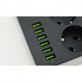 LDNIO Stop Kontak 3 EU Socket with USB Charger 6 Port 10A - SE3631 - Black - 7