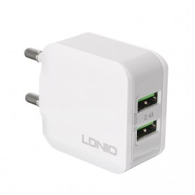 LDNIO USB Travel Charger 2 Port 2.4A - A2202 - White