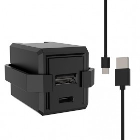 Baterai & Charger - Travel Charger Smartphone USB Type C 2 Port 3.1A - RK-C001 - Black