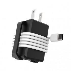 Travel Charger Smartphone USB Type C 2 Port 3.1A - RK-C001 - Black - 3