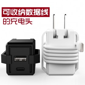 Travel Charger Smartphone USB Type C 2 Port 3.1A - RK-C001 - Black - 7