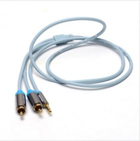 Vention Kabel 3.5mm Male ke 2 RCA Male HiFi - 1M - BCFBF - Blue
