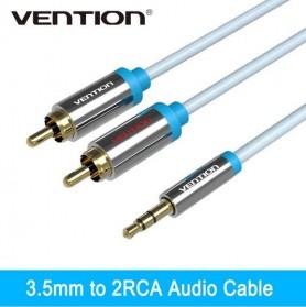 Vention Kabel 3.5mm Male ke 2 RCA Male HiFi - 1M - BCFBF - Blue - 7