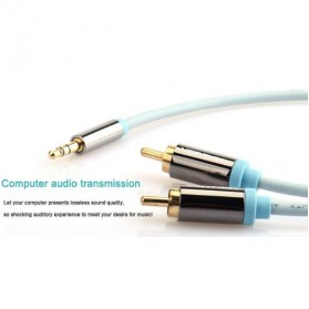 Vention Kabel 3.5mm Male ke 2 RCA Male HiFi - 2M - BCFBH - Blue - 4