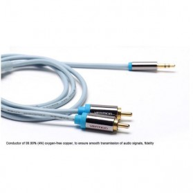 Vention Kabel 3.5mm Male ke 2 RCA Male HiFi - 2M - BCFBH - Blue - 5