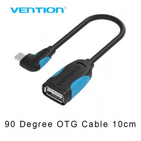 Vention Kabel OTG Micro USB to USB 2.0 L Shape 10cm - Black