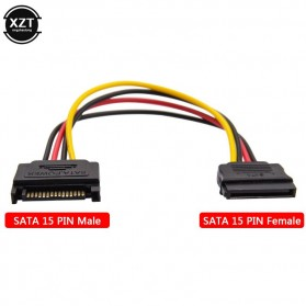 XZT Kabel SATA Power 15 PIN Famale ke Male 0.5 Meter
