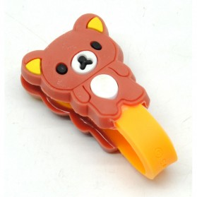 Brown Bear Style Earphone Cable Organizer - Brown