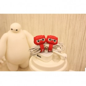 Manajemen Kabel / Cord Holder - Armored BayMax Big Hero Style Earphone Cable Organizer - Red