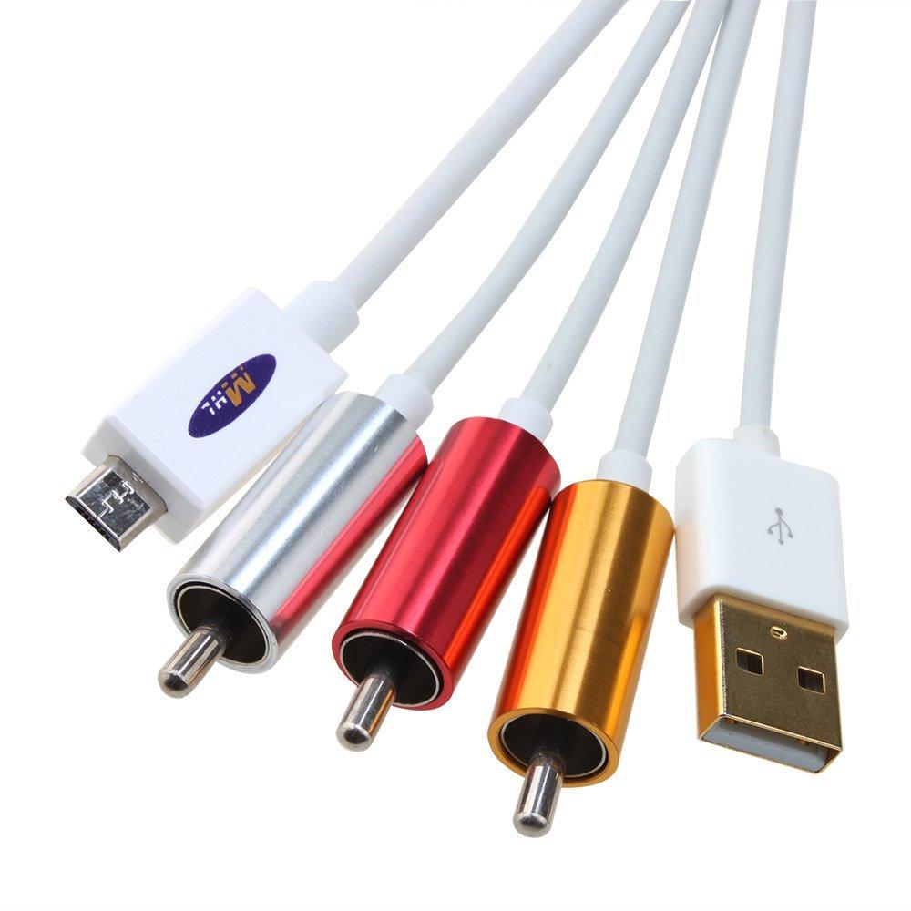 Mhl Micro Usb To Rca Hdtv Adapter Av Cable White