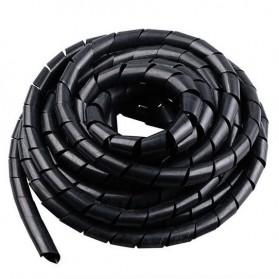 HUXUAN Spiral Pembungkus Kabel Listrik/Selang Ukuran 12MM x 5.5M - HPS-60 - Black
