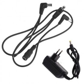 Adapter & Kabel Power Pedal Efek Gitar Daisy Chain 3 Cabang - Black