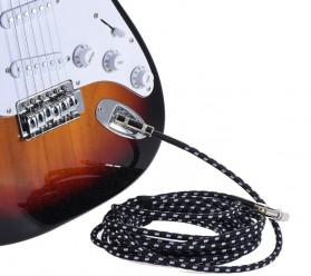 Kabel Gitar Bass Elektrik Braided - 6M - Black - 4