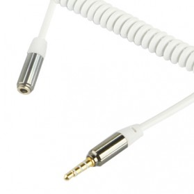 Ult-Best  HiFi Aux Audio Coil Cable 3.5mm Male to Female - ZHY43938 - White - 1