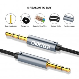 CHOETECH Kabel Audio AUX 3.5mm Male to Male 1.2 Meter - AUX002 - Black - 5