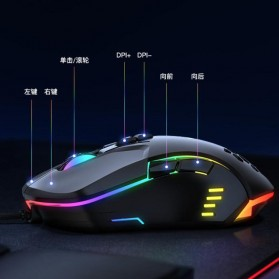 Onikuma Gaming Mouse RGB 6400 DPI Sensor With 7 Key - CW902 - Black - 6