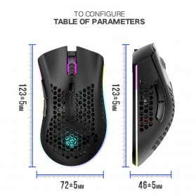 K-SNAKE Mouse Gaming Wireless RGB Honeycomb 3 DPI Gear 2.4GHz - BM600 - Black - 7