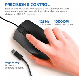 Philips Mouse M104 Wired Optical 1000 DPI - SPK7104 - Black - 3