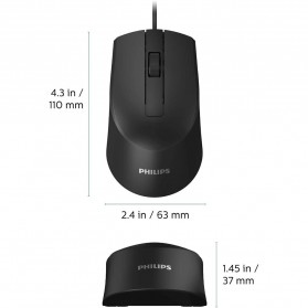 Philips Mouse M104 Wired Optical 1000 DPI - SPK7104 - Black - 7