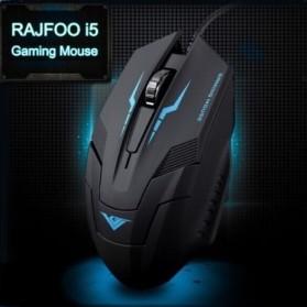 Rajfoo i5 Optical Wired USB Gaming Mouse 1600 DPI - Black/Blue - 3