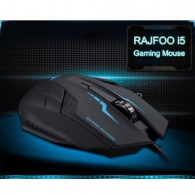 Rajfoo i5 Optical Wired USB Gaming Mouse 1600 DPI - Black/Blue - 4