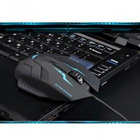 Rajfoo i5 Optical Wired USB Gaming Mouse 1600 DPI - Black/Blue - 6