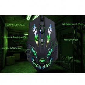 Rajfoo i5 Mouse Gaming USB dengan Cahaya LED - Black - 7