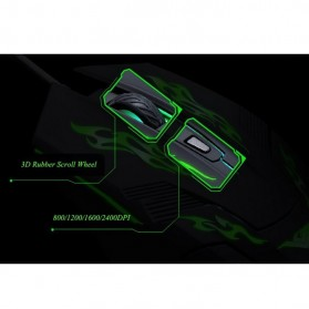 Rajfoo i5 Mouse Gaming USB dengan Cahaya LED - Black - 8