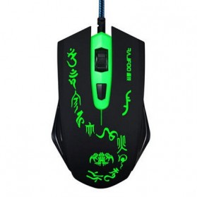 Rajfoo Damour Optical Wired USB Gaming Mouse 3 Shift DPI with LED Light - Black/Green