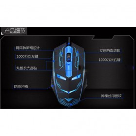 Rajfoo Terminator Professional Gaming Mouse 1600 DPI - Black - 9