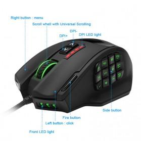 Rocketek Mouse Gaming Macro MMORPG 19 Buttons 16400 DPI - Black - 6