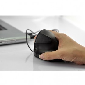 Vertical Wireless Optical Mouse with 5 Function Keys - Black - 9
