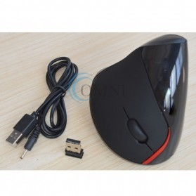 Vertical Wireless Optical Mouse with 5 Function Keys - Black - 10