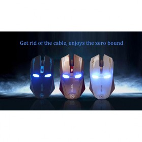 NAFEE Iron Man Wireless Mouse Gaming Mute Button Silent Click 2.4Ghz - Black - 5