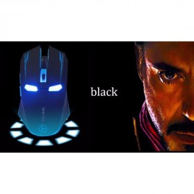 NAFEE Iron Man Wireless Mouse Gaming Mute Button Silent Click 2.4Ghz - Black - 8