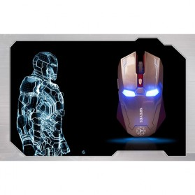 NAFEE Iron Man Wireless Mouse Gaming Mute Button Silent Click 2.4Ghz - Black - 9