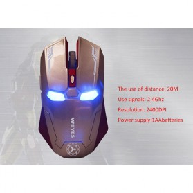 NAFEE Iron Man Wireless Mouse Gaming Mute Button Silent Click 2.4Ghz - Black - 10