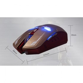 NAFEE Iron Man Wireless Mouse Gaming Mute Button Silent Click 2.4Ghz - Black - 11