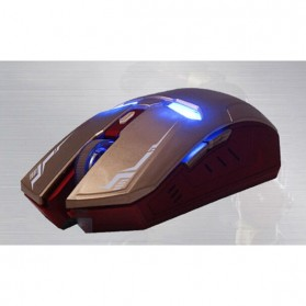 NAFEE Iron Man Wireless Mouse Gaming Mute Button Silent Click 2.4Ghz - Black - 12