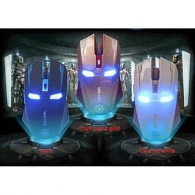 NAFEE Iron Man Wireless Mouse Gaming Mute Button Silent Click 2.4Ghz - Black - 13