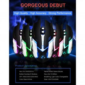 iMice V6 Gaming Mouse RGB LED 4800DPI - Black - 6