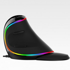 Delux M618 RGB Vertical Wired Optical Ergonomic Mouse 4000 DPI - Black - 3
