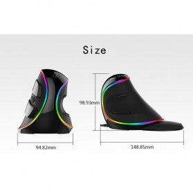 Delux M618 RGB Vertical Wired Optical Ergonomic Mouse 4000 DPI - Black - 4