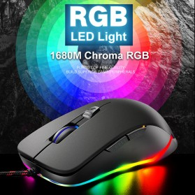 Free Wolf Mouse Gaming USB 2400 DPI dengan LED RGB - V6 - Black - 4