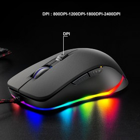 Free Wolf Mouse Gaming USB 2400 DPI dengan LED RGB - V6 - Black - 6