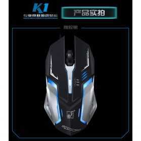 Leopard Mouse Gaming LED RGB 1600 DPI - K1 - Black - 2