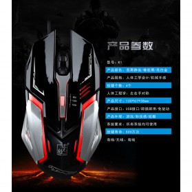 Leopard Mouse Gaming LED RGB 1600 DPI - K1 - Black - 4