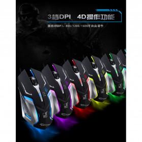 Leopard Mouse Gaming LED RGB 1600 DPI - K1 - Black - 8
